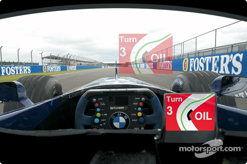 Presentation of the head-up display for Ralf Schumacher's helmet, developed by BMW