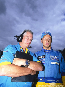 Pat Symonds and Jenson Button on the starting grid