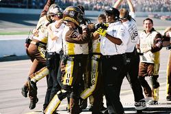 Robert Yates Racing crew members celebrating Dale Jarrett's victory