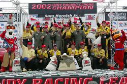 Sam Hornish Jr. and Panther Racing crew celebrate