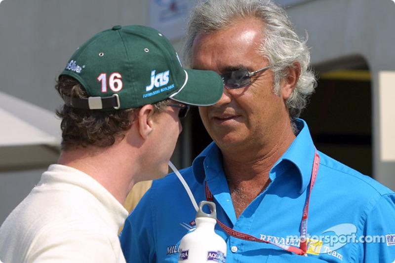 Eddie Irvine y Flavio Briatore