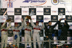 The podium: race winners Emanuele Pirro and Frank Biela with Max Angelelli, J.J. Lehto, Tom Kristensen and Rinaldo Capello