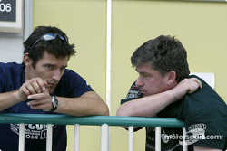 Mark Webber chats with chats to Vincent Gaillardot of Jaguar