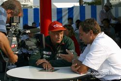 Niki Lauda and Gerhard Berger on TV