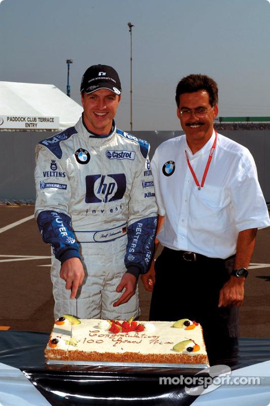 Ralf Schumacher celebrates his 100th Grand Prix