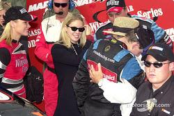 Hugging the boss