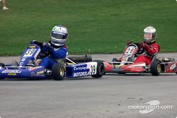 #28-Adam Pecorari, of Aston, PA, chases down #39-Marco Andretti, grandson of Indy Racing legend Mario Andretti in Formula Yamaha Junior