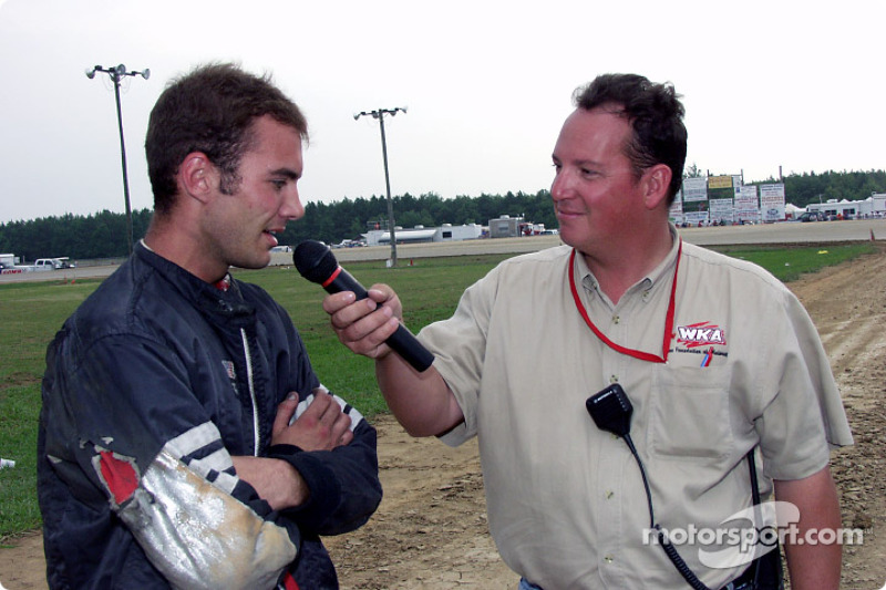 WKA announcer Buddy Long interviews double winner Blaze Martin after one of his wins