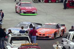 Close call in the pits between Ted Musgrave and Tony Stewart