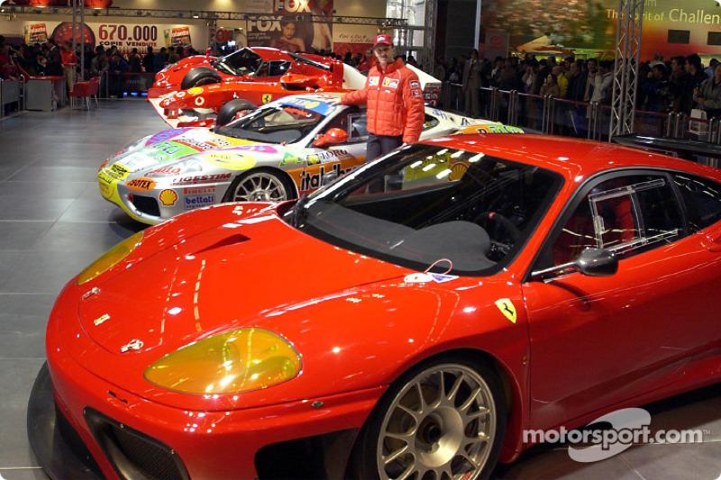 Luciano Burti in Ferrari stand