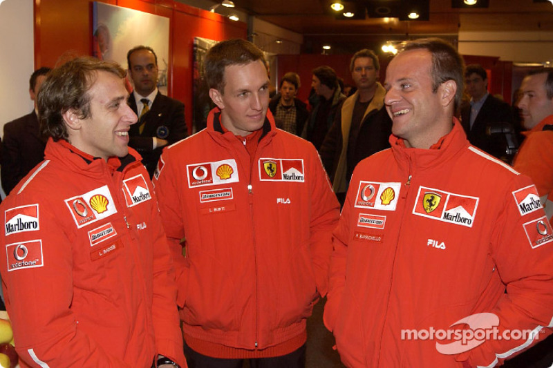 Luciano Burti, Rubens Barrichello and Luca Badoer at the opening of the events