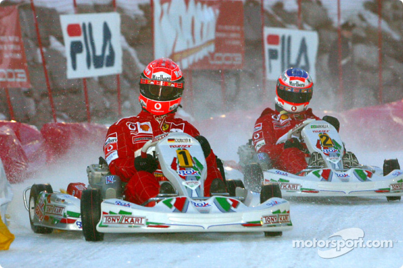 The kart race: Michael Schumacher and Rubens Barrichello