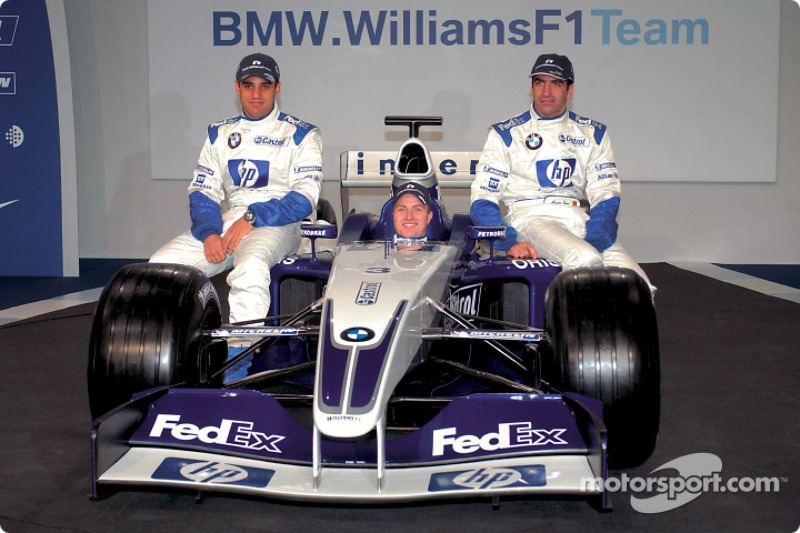 Juan Pablo Montoya, Ralf Schumacher and Marc Gene with the new BMW Williams F1 FW25