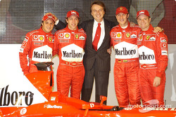 Luca di Montezemelo, Felipe Massa, Luca Badoer, Michael Schumacher and Rubens Barrichello with the n