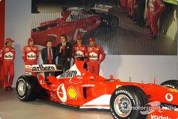 Luca di Montezemelo, Jean Todt, Felipe Massa, Luca Badoer, Michael Schumacher and Rubens Barrichello