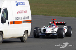 Takuma Sato back behind the incident vehicle