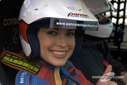 Miss Universe Justine Pasek takes a ride in a Panoz GT-RA