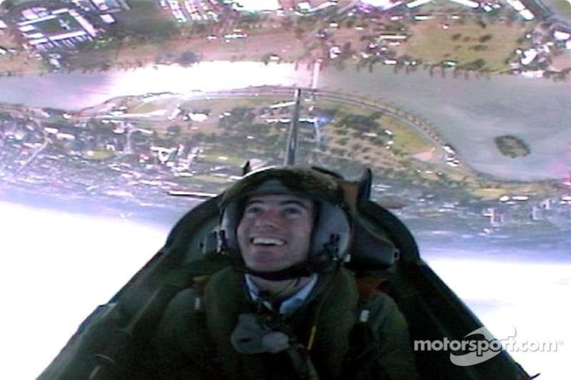 Ralph Firman takes an aerobatic flight with the RAAF (Royal Australian Air Force) over Albert Park