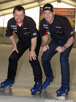On ice skates: Paul Stoddart celebrates Jos Verstappen's 31st birthday