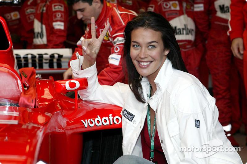 Supermodel Megan Gale with Team Ferrari