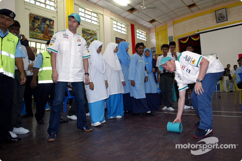 Visit at MRSM-PDRM school: Heinz-Harald Frentzen and Nick Heidfeld