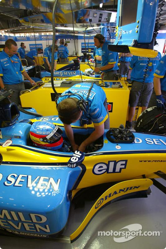 Fernando Alonso in Renault garage area