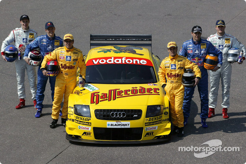 The 2003 DTM Abt-Audi drivers: Laurent Aiello, Christian Abt, Mattias Ekström, Karl Wendlinger, Martin Tomczyk and Peter Terting