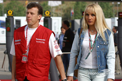 Olivier Panis and wife Anne arrive at the track