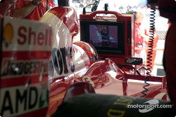 Michael Schumacher looks at Michael Schumacher
