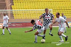 Football match at Stade Louis II in Monaco: Giancarlo Fisichella and Prince Albert