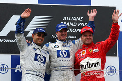 The podium: race winner Ralf Schumacher, Juan Pablo Montoya and Rubens Barrichello