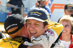 Ron Fellows and Johnny O'Connell celebrate