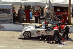 #1 Infineon Team Joest Audi R8: Frank Biela, Marco Werner in the pits