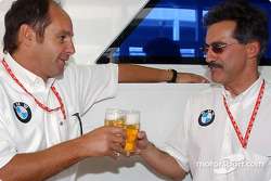 BMW Motorsport Director Gerhard Berger retirement party: Gerhard Berger and Dr Mario Theissen, 'This Bud's for you!'