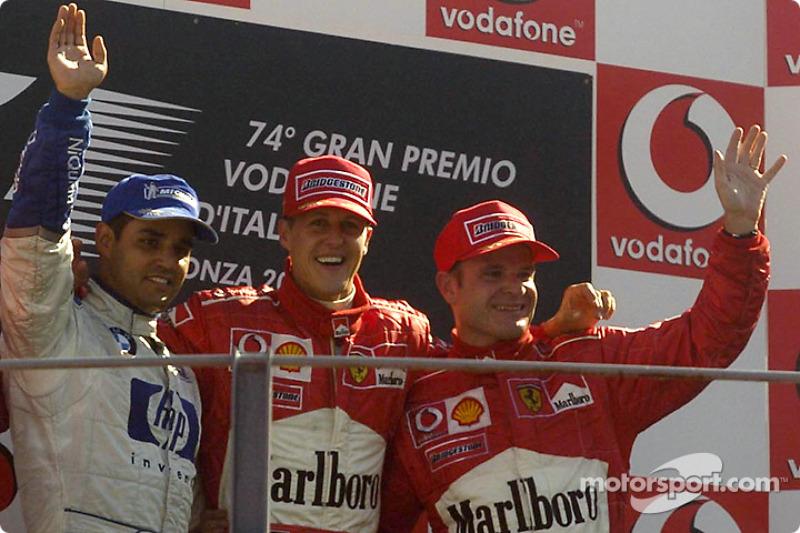 Podio: ganador de la carrera Michael Schumacher, segundo lugar  Juan Pablo Montoya y tercer lugar Rubens Barrichello