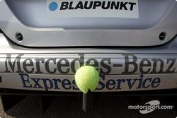 Lucky tennis ball on Christijan Albers' car