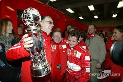 Jean Todt and Ferrari team members celebrate win