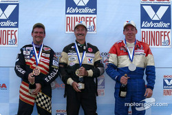 Podium: race winner Kent Prather with Kevin Dennis and Kevin Allen
