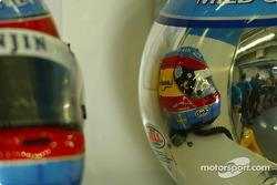 Jarno Trulli and Fernando Alonso helmets