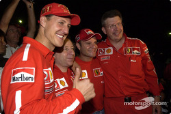 Michael Schumacher, Jean Todt, Rubens Barrichello and Ross Brawn