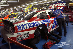 National Guard crew works on Todd Bodine's car