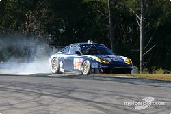 #43 Orbit Racing Porsche 911 GT3RS: Marc Lieb, Peter Baron, Mike Rockenfeller off the track