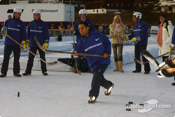 Juan Pablo Montoya plays ice hockey