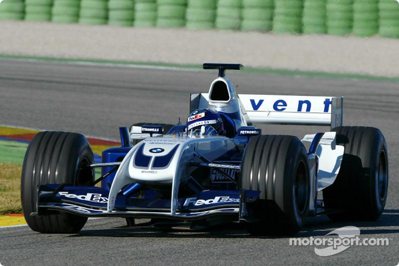 Juan Pablo Montoya tests the new WilliamsF1 BMW FW26