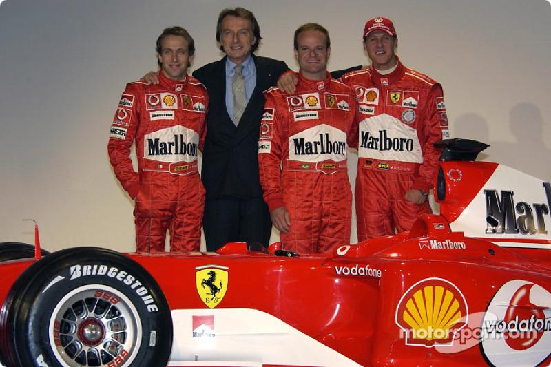 Лука Бадоер, Лука ді Монтедземоло, Рубенс Баррікелло, Міхаель Шумахер і Ferrari F2004