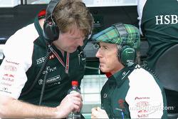 Jaguar team principal David Pitchforth with Sir Jackie Stewart