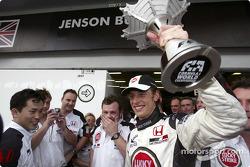 Jenson Button celebrates