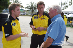 Nick Heidfeld discusses with FIA delegate Charlie Whiting
