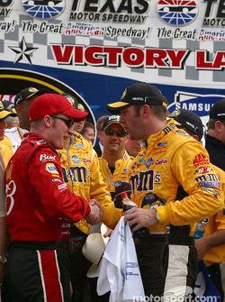 Dale Earnhardt Jr. gives Elliott Sadler congratulatory handshake