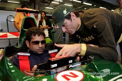Indian cricketer Sachin Tandulkar with Mark Webber